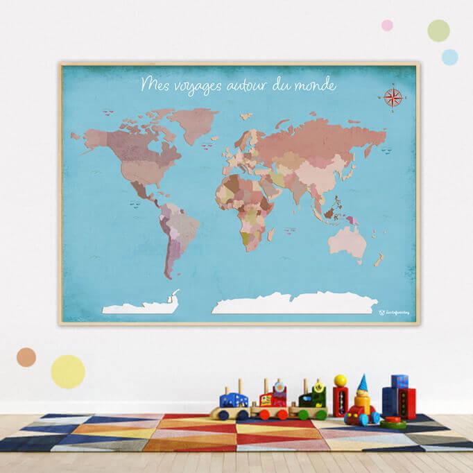 Planisphère - Mes voyages autour du monde